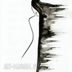 minimalizm dom białe akt kobieta, grafika 30x40 cm