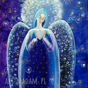 dom anioł z serduszkiem (niebieski)