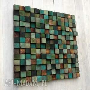 turkusowe dom obraz mozaika drewniana - na zamówienie