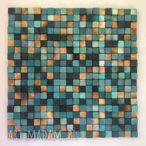 niebieskie dom rustykalny mozaika drewniana - na zamówienie