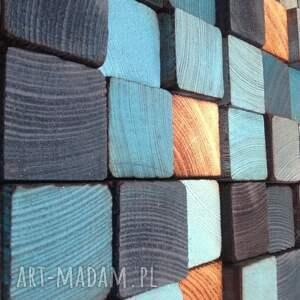 obraz dom turkusowe mozaika drewniana - na zamówienie