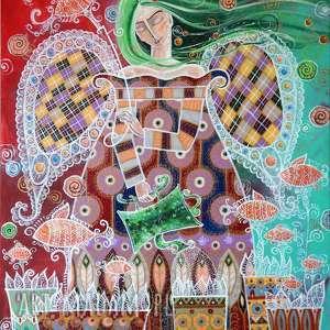 Marina Czajkowska dom: Ogród marzeń 60x50 cm - ryby anioł