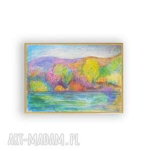 dom jesień oprawiony obrazek, ręcznie