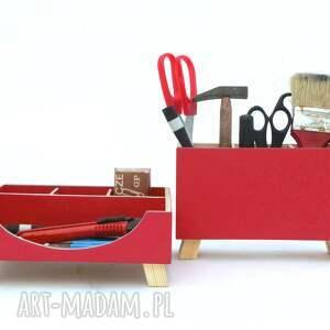 dom drewno organizer - przybornik na biurko