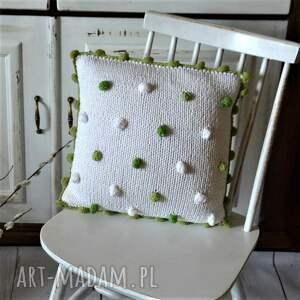 zielone dom poduszka poducha z dzierganą