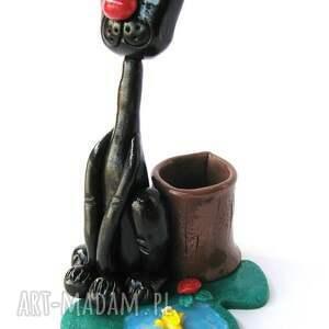 ręcznie zrobione dom przybornik - czarny kotek