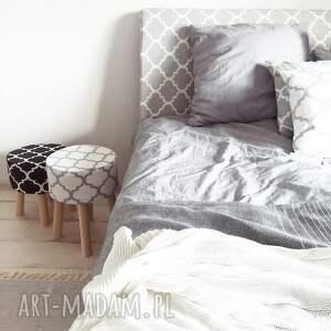 eleganckie dom handmade stołek puf fjerne m biało szaro