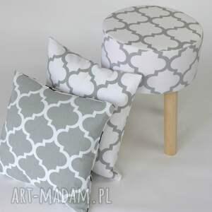 eleganckie dom podnóżek stołek puf fjerne m biało-szaro