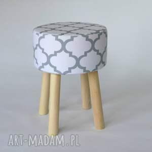 białe dom handemade stołek puf fjerne m biało-szaro