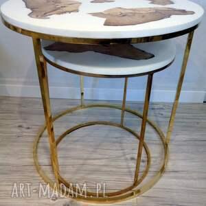 urokliwe dom drewniany stolik kawowy z grabu i białej