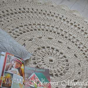 białe ażur dywan - bawełniany ze sznurka