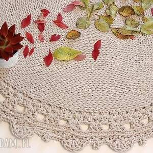 niepowtarzalne pleciony dywan okrągły ze sznurka round