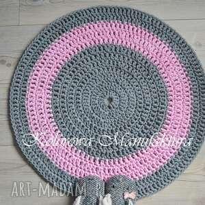 szare dywany sznurek dywan okrągły grey pink 80cm