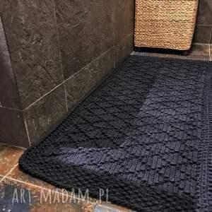 szare dywan sznurkowy ręcznie dziergany z grubego