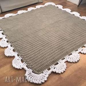 wyraziste dywan sznurkowy z koronką kwadrat