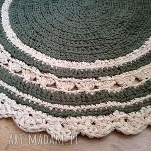 beżowe dywan okrągły dywanik ze sznurka na
