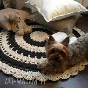 brązowe szydełko ręcznie robiony okrągły dywan
