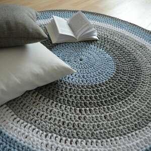 crochet niebieskie ręcznie robiony okrągły dywan