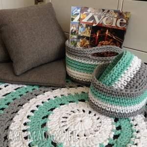 szare dywany rękodzieło ręcznie robiony okrągły dywan ze