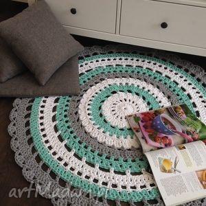 dywan dywany białe ręcznie robiony okrągły ze