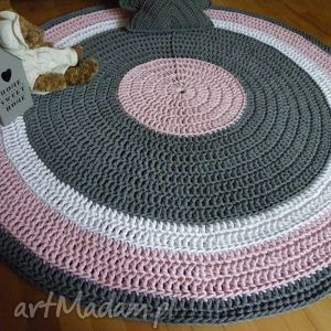 dywan różowe ręcznie robiony okrągły