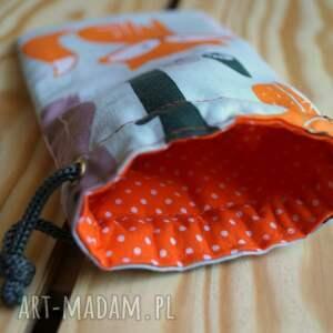 pomarańczowe etui lisek / bawełniany woreczek