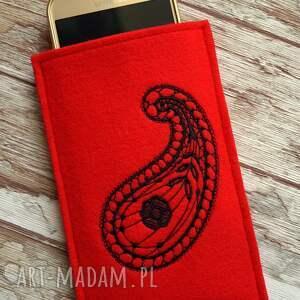 smartfon etui filcowe na telefon z haftem