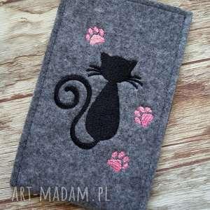 kot etui różowe filcowe na telefon - kotek