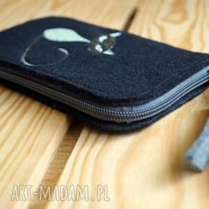 handmade etui smartfon filcowe na telefon - kotek