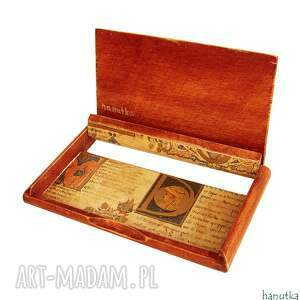 brązowe etui wizytówka elegancki, niezwykle oryginalny drewniany