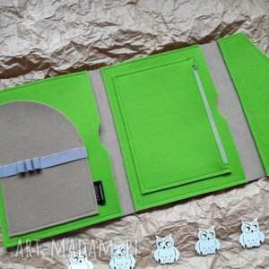 zielone etui prezent organizer na tablet laptop skora