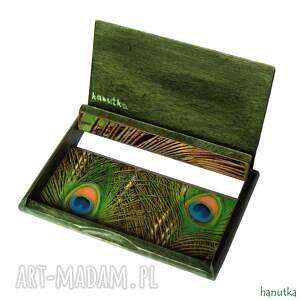 turkusowe etui wizytówka paw - wizytownik