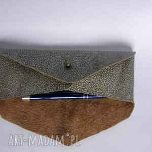 beżowe etui skórzany piórnik skóra naturalna koperta