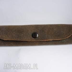 ręcznie robione etui piórnik skórzany mały