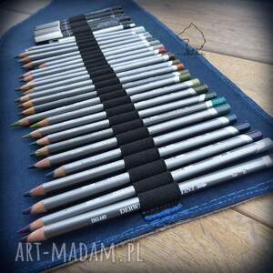 czarne etui skóra skórzany piórnik na ołówki i