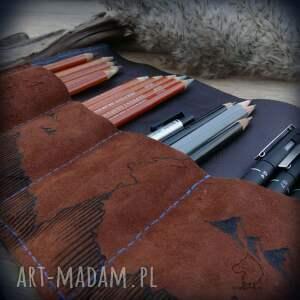 brązowe etui piórnik skórzany na ołóki i kredki