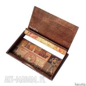 brązowe etui vintage - wizytownik, na karty