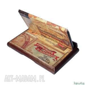 prezent etui beżowe vintage - wizytownik, na karty