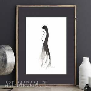 szare abstrakcja kobieta grafika czarno białą, plat