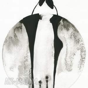 czarne obraz do salonu grafika 30x40 cm wykonana ręcznie