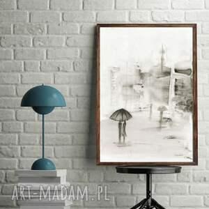 minimalizm białe grafika 30x40 cm wykonana ręcznie