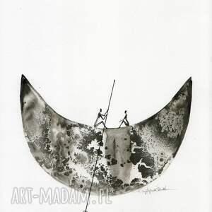 ART Krystyna Siwek grafika 30x40 cm wykonana ręcznie, abstrakcja, elegancki minimalizm, obraz obrazy malow