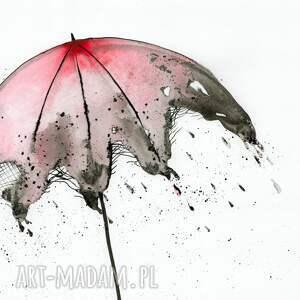 efektowne parasol grafika 30x40 cm wykonana ręcznie
