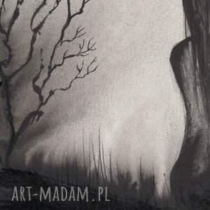 minimalizm białe grafika a4 malowana ręcznie