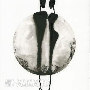 ART Krystyna Siwek szare grafiki do salonu grafika a4 malowana ręcznie
