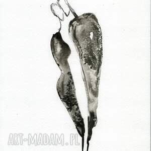 grafika A4 malowana ręcznie, minimalizm, abstrakcja czarno biała - grafiki obrazy malowane