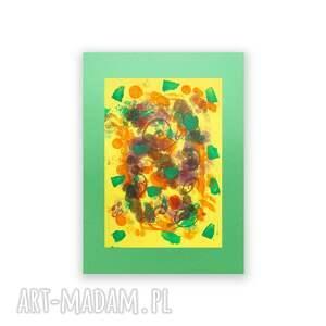 zielone malowany ręcznie abstrakcja na ścianę, abstrakcyjna