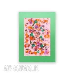 zielone malowany ręcznie abstrakcyjna grafika, abstrakcja