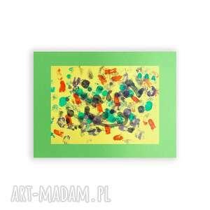 zielone malowany ręcznie abstrakcyjna grafika na ścianę