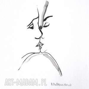 obrazy czarno białe biała grafika, pocałunek